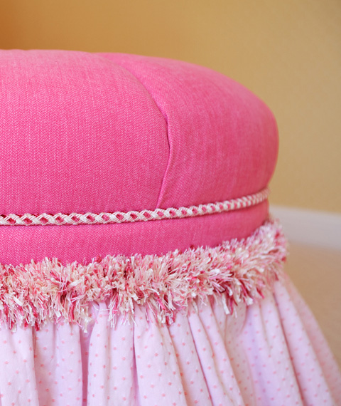 Custom pink poof with cord and fringe