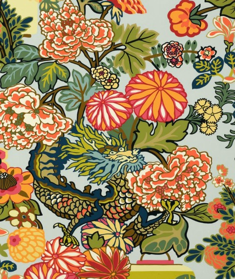 Schumacher Chiang Mai Dragon Wallpaper | House of Ruby Interior Design | houseofruby.com
