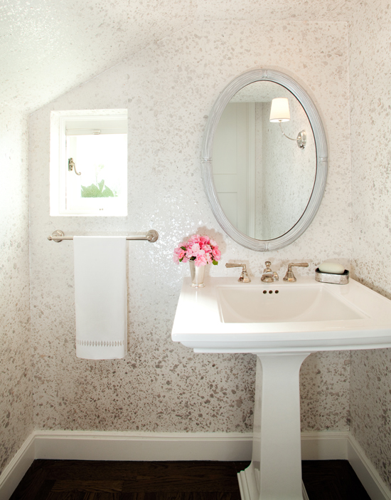 House of Ruby Interior Design - Powder Bathroom with Wallteriors Wallpaper